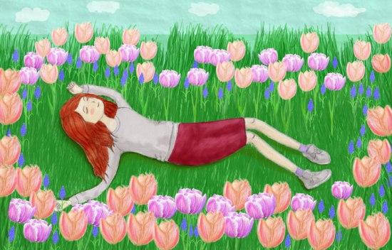 Spring-flowers-tulips-girl-digital-painting