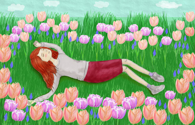 Spring-flowers-tulips-girl-digital-painting