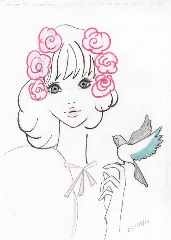 Ebihara-Illustration-Flowers-Girl-Pen
