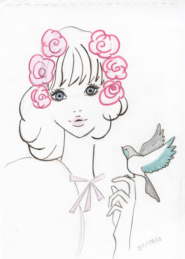 Ebihara-Illustration-Flowers-Girl-Pen