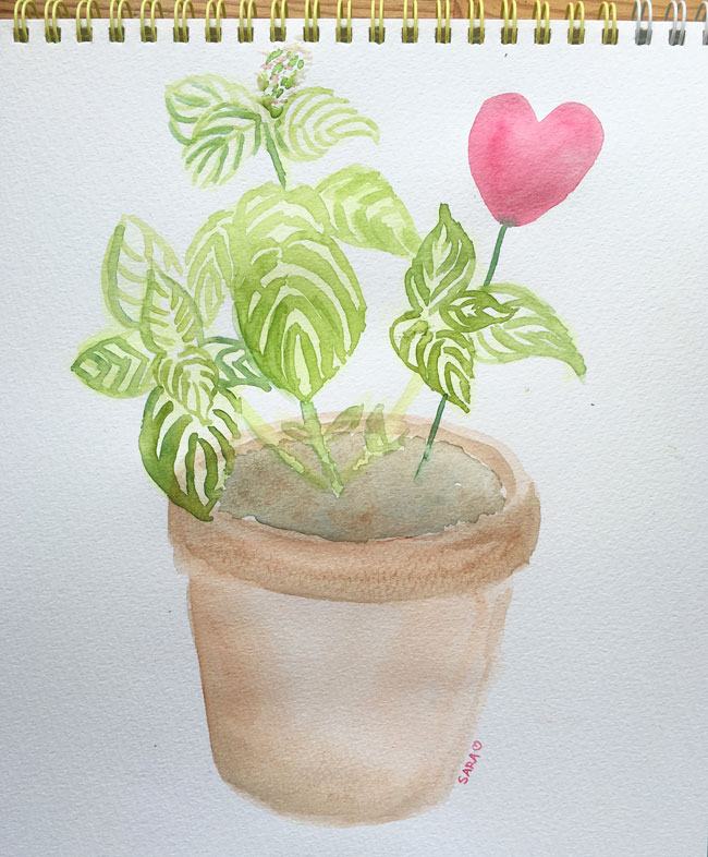 Day-2:28-house-plant-watercolor