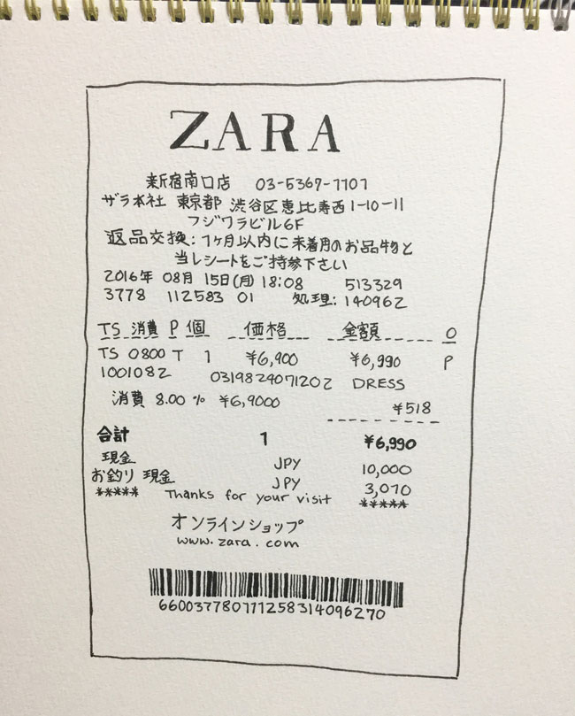 Day-5:28-receipt-zara-pen-illustration